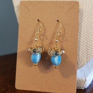 Artisan Golden Blue Acorn Earrings